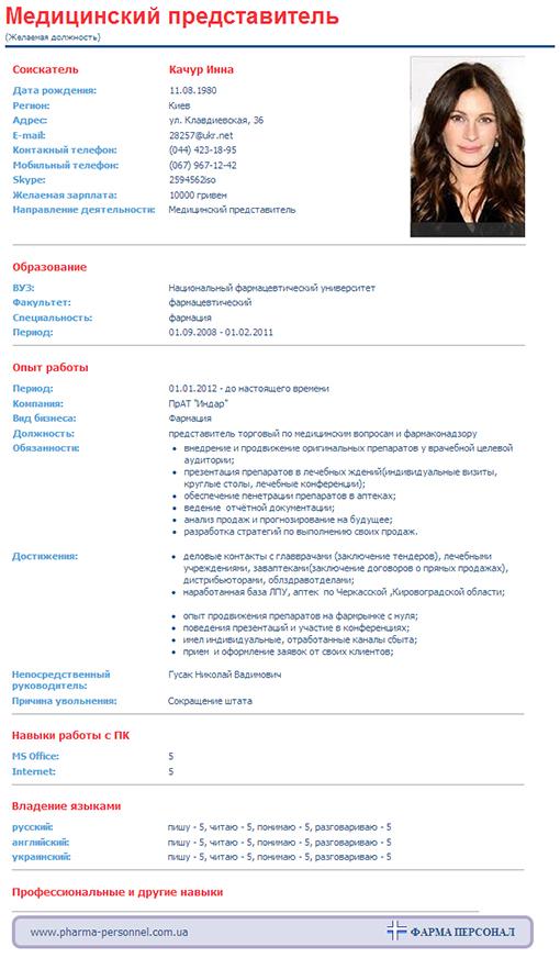 украина образец резюме